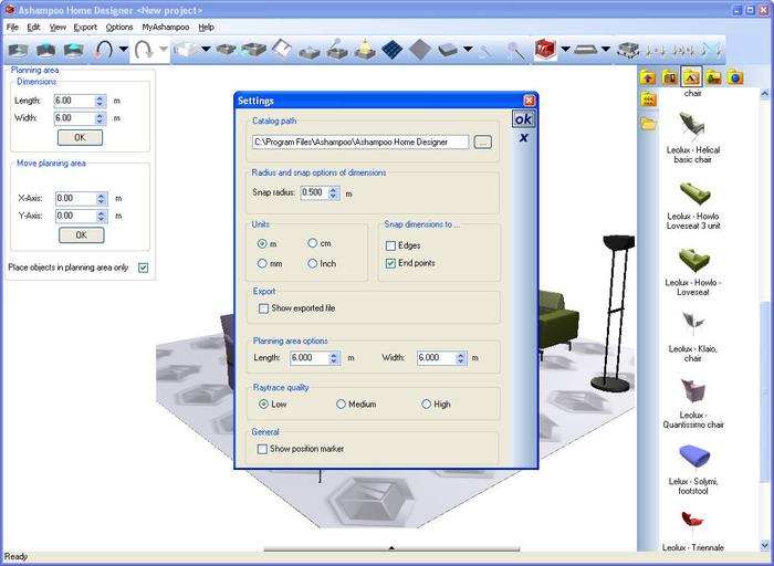 Screenshots of Ashampoo Home Designer Pro 1.0.0