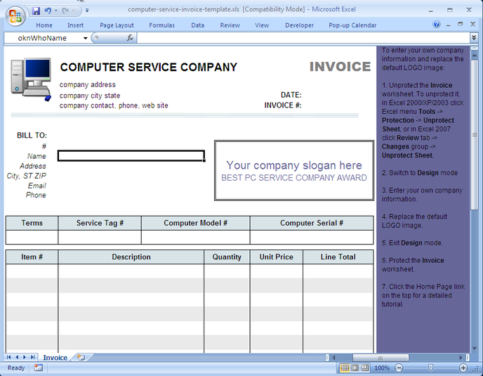 Computer Service Invoice Template Free Download