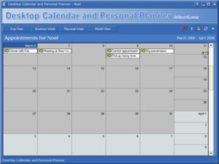 screenshots of desktop calendar and planner software 201501