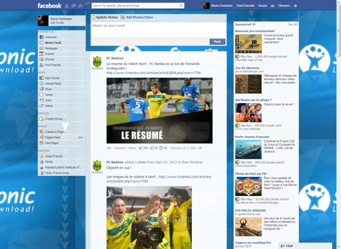 How to change the theme/background of facebook timeline in windows.