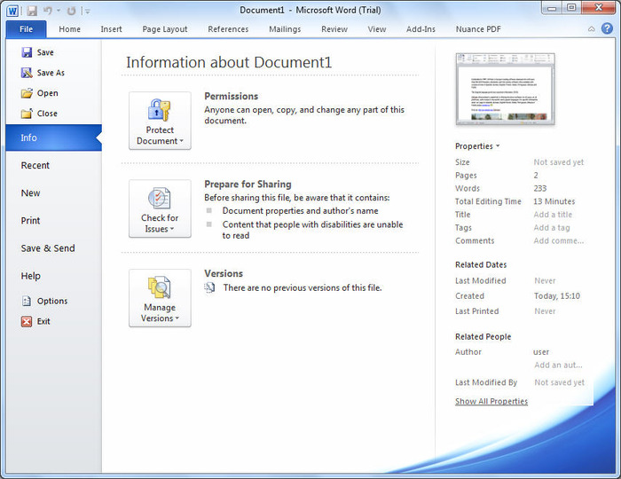 screenshots of microsoft word 2010 previous