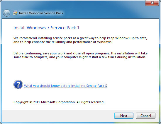 Windows 7 service pack 1 free download.