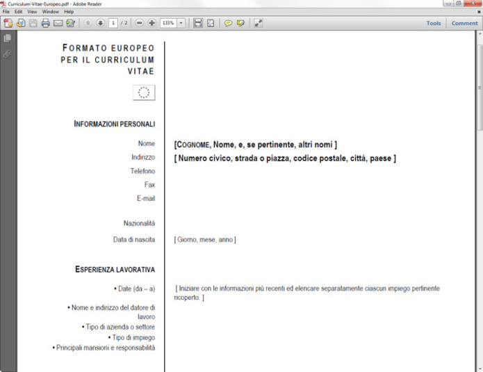 Curriculum Vitae Europeo In PDF - Curriculum Vitae Da Scaricare